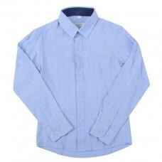 Marškiniai ilgomis rankovėmis, mėlyna apykakle